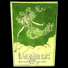 1911 Greetings Postcard Of Fairies Granting Wishes Sanford Card Co.