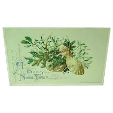 1912 Embossed New Year Postcard John Winsch Pig In a Basket - Red Tag Sale Item