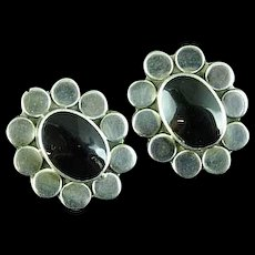 Vintage Mexican Sterling Silver and Black Onyx Earrings