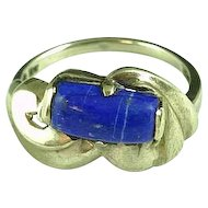 10k Yellow Gold & Blue Lapis Ring Size 6 3/4 Estate Find