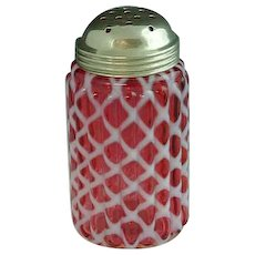 Northwood Ribbed Lattice Cranberry Opalescent Sugar Shaker