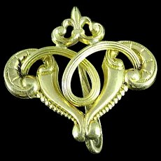 Fancy Victorian Gold Filled Lorgnette Watch Brooch Pin Holder