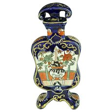 RARE Masons Ironstone Footed Cologne Bottle Cobalt Blue & Imari Colors Circa 1820
