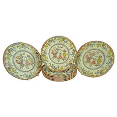 """9 Royal Worcester 10 5/8"""" Dinner Plates Z810 Excellent Condition Flowers & Urn"""