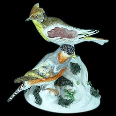Superb Antique French Porcelain Achille Bloch Figurine Of Exotic Birds