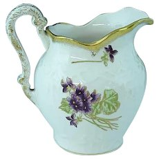 """John Maddocks Victorian 6 1/2"""" Tall Pitcher Decorated with Violets Ca 1880"""