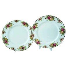 2 Vintage Royal Albert Old Country Roses Bone China Dinner Plates #1