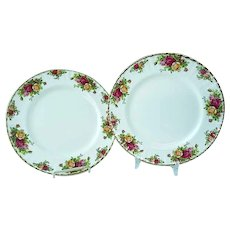 2 Vintage Royal Albert Old Country Roses Bone China Dinner Plates #1