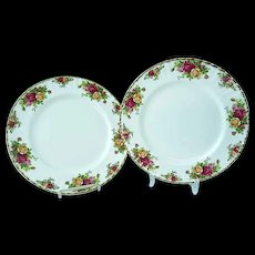 2 Vintage Royal Albert Old Country Roses Bone China Dinner Plates #2