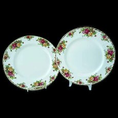 2 Vintage Royal Albert Old Country Roses Bone China Dinner Plates #3