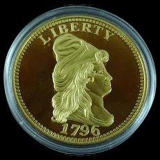 Proof Gold Quarter Eagle 1796 Replica Medal Cu Plus 24K Gold