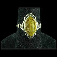 10k Gold Carved Tigers Eye Ring With Roman Or Greek Soldier