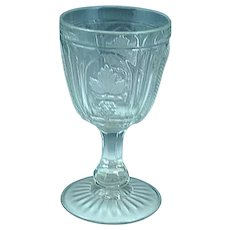 Antique Magnet and Grape with Frosted Leaf Clear Pattern Glass Goblet c. 1870 #1