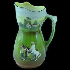 Antique Royal Bayreuth Creamer Prancing Horses in Pasture Ca 1910