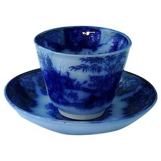 Staffordshire Flow Blue Handleless Cup & Saucer Simla Elsmore & Forester Ca 1853