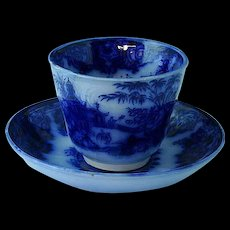 Staffordshire Flow Blue Handleless Cup & Saucer Simla Elsmore & Forester Ca 1853