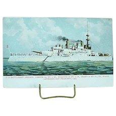 1904 Undivided Back Postcard USS Battleship Oregon Spanish American War Ship