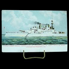 1904 Undivided Back Postcard USS Battleship Oregon Spanish American War Ship