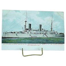 1904 Undivided Back Postcard USS Battleship Olympia Spanish American War Ship