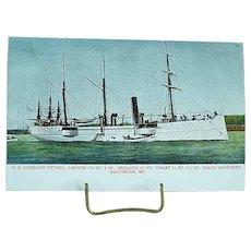 1904 Undivided Back Postcard USS Gunboat Petrel Spanish American War Ship
