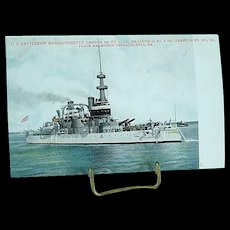 1904 Undivided Back Postcard USS Battleship Massachusetts Spanish American War Ship