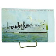 1904 Undivided Back Postcard USS Cruiser Philadelphia Spanish American War Ship