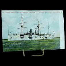 1904 Undivided Back Postcard USS Cruiser Newark Spanish American War Ship