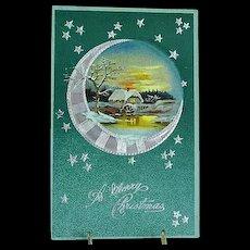 1907 Embossed PFB Christmas Postcard Moonlight No. 122/47