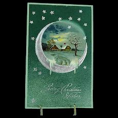 1907 Embossed PFB Christmas Postcard Moonlight Series 6396