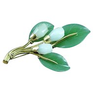 Gump's 14K Gold Carved Green and White Jade Floral Brooch Pin