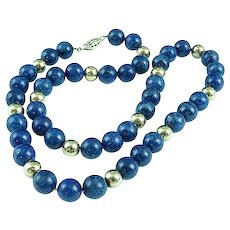 Vintage 19 1/2 Inch Blue Lapis Lazuli Gold Filled Round Bead Necklace