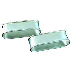 2 International Sterling Silver Rectangular Napkin Rings N141 No Mono