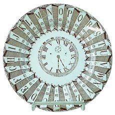 RARE Antique Staffordshire Brown Transfer ABC Plate Clock Face Minutes Months