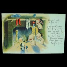 Artist Signed Rose O'Neill KEWPIES by Fireplace CHRISTMAS GREETINGS Postcard