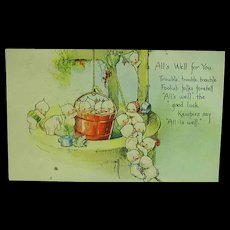 Artist Signed Rose O'Neill KEWPIES At The Well GREETINGS Postcard