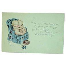 Artist Signed Rose O'Neill KEWPIES Hugging In Chair Valentine GREETINGS Postcard
