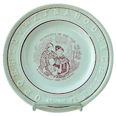 RARE Antique Staffordshire Red Transfer ABC Plate Incidents Of The War