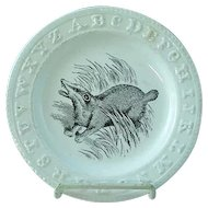 RARE Antique Staffordshire Black Transfer ABC Plate W Badger By Adams