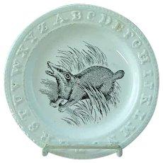 RARE Antique Staffordshire Black Transfer ABC Plate W Badger By Adams