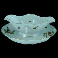 Vintage Herend Bird & Insect Porcelain Ho Gravy Boat With Attached Tray MINT
