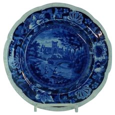 Antique Staffordshire Transfer Dark Blue Plate Castles by Stevenson C 1825