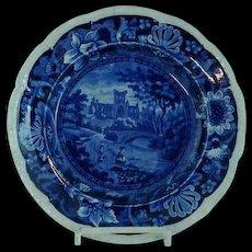 Antique Staffordshire Transfer Dark Blue Plate Castles by Stevenson C 1825