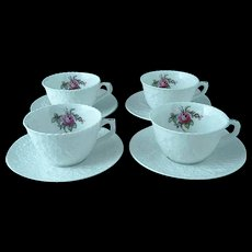 4 Vintage Spode Bridal Rose Y2862 Cups And Saucers Pink Roses