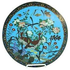 Antique Meiji Japanese Cloisonne Blue Enamel Large Plate Charger Floral & Bird
