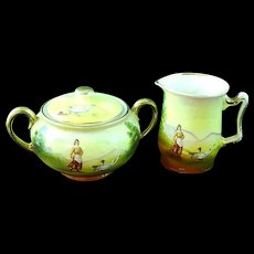Antique Royal Bayreuth Sugar And Creamer Lady With Geese Ca 1900