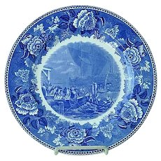"Wedgwood 10 1/4"" Transfer Commemorative Plate Boston Tea Party Dec 16 1773"