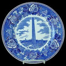 "Wedgwood 10 1/4"" Transfer Commemorative Plate Bunker Hill Monument"