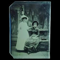 Antique 1/6th Plate Tintype of a 2 Ladies in Fancy Hats & Dresses