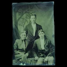 Antique 1/6th Plate Tintype of a 3 Young Men Graduates?