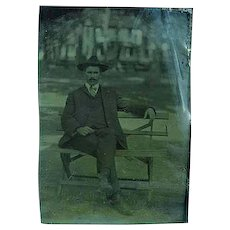 Antique 1/6th Plate Tintype of a Gentleman Sitting an a Park Bench